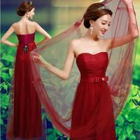 Fashionable New Long evening dress 2014 Red vestidos de festa vestido longo pink prom dress bandage dress robe de soiree E86