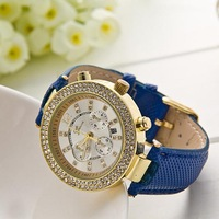 Fashion Geneva brand watch women rhinestone quartz wristwatch ladies leather band luxury watches 5 colors Alloy relogio WAT178
