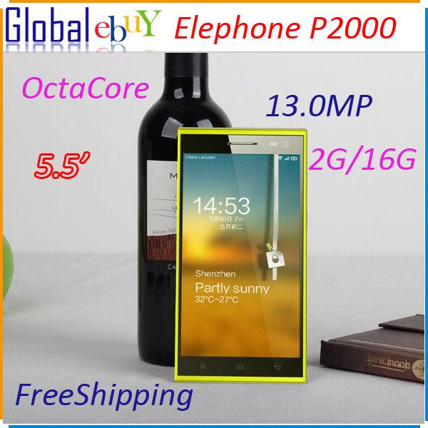 "Elephone P2000 MTK6592 Octa Core 5.5"" 1280x720 2GB RAM 16GB ROM 13MP WCDMA Mobile Phone Fingerprint identify NFC GPS Pre-sell(China (Mainland))"