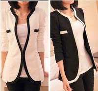 Blazer Women Feminino Casual o- neck women sweater black and white cardigan women  ladies blazer free shipping