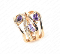 Newest Arrival Unique Multi-layer Engagement Rings Genuine 18K Gold Plated Pave Austrian Crystals Fashion Jewelry Ri-HQ0224