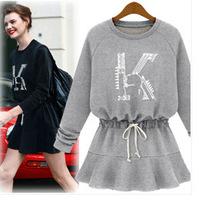 UK Brand New 2014 Spring Autumn ZA Women Grey Black Casual Cotton Winter Dress Plus size S - XL XXL XXXL 4XL 5XL Dresses Vestido