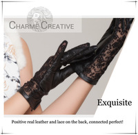 New fashion sheepskin with lace  prevented bask glovesGenuine leather elegant black gloves S/M/L size free shipping with box