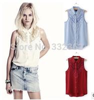 Free Shipping 2014 New Summer Women Openwork Crochet Lace Stitching Perspective Sleeveless Chiffon Shirt Vest