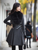 2014 winter coat women new Korean desigual coat women's fur collar Slim thin cashmere wool coat, casacos femininos