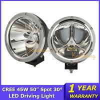 2x UTV Round Cree led Light for Truck 45W 4X4 LED Work Light ATV AWD 12V/24V Car offroad Light 4WD Spot 30 Degree 4500lm 3X15W