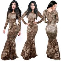 Leopard Mermaid Dress Sexy Trumpet Party Bandage Long Dress Womens Celebrity Maxi Dresses Casual Long Dress M L XL XXL 5205B.