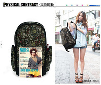 New arrivals Floral Flowers Print Backpack Double Shoulders PU Corduroy Bag for Women Free Drop shipping