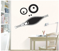 diy 3D Creative cartoon Zipper mouth Funny face wall stickers home decor decoration  removable poster mural