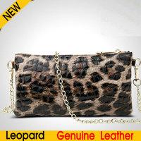 European Ladies Leopard Clutch Bag Chain Small Handbags Cow Genuine Leather Women Shoulder Messenger Bags Mobile phone wallet