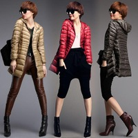 2014 New Winter Warm Long Coat Woman Outerwear Slim Lightweight Hooded Down Jacket S-XXL Plus Size 7 Colors Free Shipping