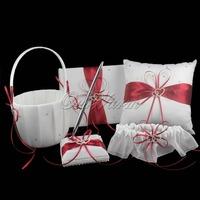5Pcs/set Satin Wedding Decorations Ring Pillow+Flower Basket+Guest Book+Pen Set +Garter Bridal Product  Wholesales