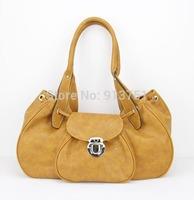 "H0026(orange),Ladies' beautiful PU handbag ,7 different colors,15.5 x 6 x 7.75""(L*W*H),Free shipping!"