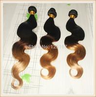 "Hot Sale 6a Virgin Hair Brazilian Body Wave 3 Bundles Three Tone 1B/4#/27# Ombre Brazilian Hair Extensions 14""-26""Free Shipping"