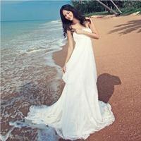 Fashionable White Chiffon Beach Wedding dress 2014 Small Tailing Wedding dresses vestidos de novia bridal gown W76