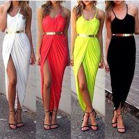Crazy Hot  Women Sexy Long High NightHigh Slit Open Pleated Braces Skirt Slip Dress ZE3142#M4