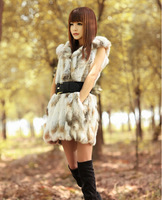 New 2014 Fashion Genuine Rex S-XXL Rabbit Fur Vest With Hooded Women's Rabbit Fur Waistcoats Winter Fur Jacket Free Shipping E90