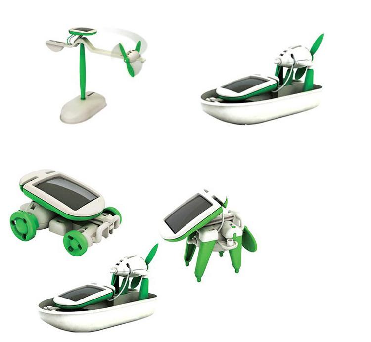 solar toys DIY 6 in 1 Solar Educational Kit Toy Boat Fan Car Robot Power Moving Dog Novelty Toys(China (Mainland))