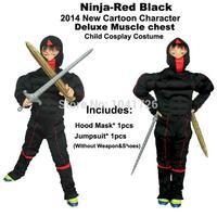 2014 New Black Ninja-Kids Cartoon character Muscle Chest  cosplay halloween  party mascot costume for children-MXMC002