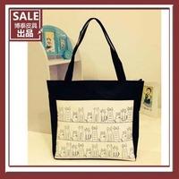 MeetU Fashion hot women's handbag canvas bag one shoulder handbag women's handbag cat canvas bag,shopping totes,free shipping
