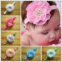 2014 New Arrival Children Baby Pearl Rhinestone Chiffon Flower Headband Girls Elastic Hairband Accessories,FS281+Free Shipping