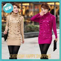 shining women turtleneck sweater,crocheted cardigan feminino,2014 winter long sleeve pullovers women