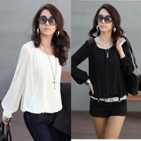 2014 new fashion women sexy auturn Chiffon laides blouse Puff long sleeve Lace shirts loose O-neck casual tops plus size