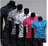 Free Shipping Hot men's t shirts,printed t shirt men,2014 letters printed short sleeve T shirt Men 4 Size 5 color