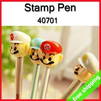 FREE SHIPPING Gel Pen Smooth Writing Mario Cartoon Stationery Mushroom Stamp 2 in 1 Kids Prize Gift SayHi 24pcs/lot 40701