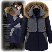 Women's Wool Blends Slim Trench Coat Wool Thick Coat Raccoon fur collar Size S-XL