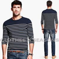 British classic nautical men t shirt / Stripe round neck t-shirt for man 100% cotton