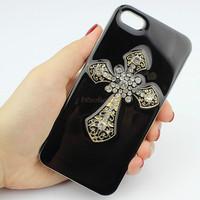 3D Gold Cross Diamond Bling Rhinestone Crystal Hard Case for Apple Iphone 5 5s