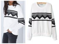 New 201408 Winter/Autumn Pullover Hoodie Tops Women Geometric  Print Sweatshirt/hoodies Full Sleeve Women Clothing Free Shipping
