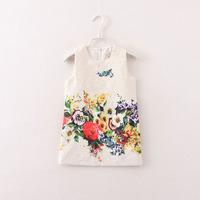 high quality hot sale children girl sleeveless flower princess dress bohemian dresses