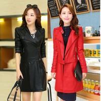Brand 2015 New Zipper Medium-Long Slim Thin PU leather Two Wear Leather Windbreaker Coat Autumn And Winter