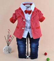 2014 new boys gentlemen plaid blazer+shirt+pant with tie clothing sets 3pcs kids clothes sets baby boy coat set boy