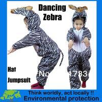 Free shipping 2013 New Halloween Kids zebra mascot party cosplay costumes pajamas-KMSC0027
