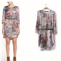 Free Shipping 2014 za* over size Flower Dresses shorts women   Saias Dress American apparel Summer-Autumn