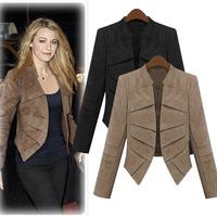 KIKEY 2014 New Style Woman Blazer Black And Khaki Full Sleeve Short Jacket Slim Womens Cotton Jacket Free Shipping E1516