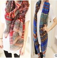 2014 Bohemia national trend scarf female silk scarf rhombus geometry cape air conditioning cachecol feminino