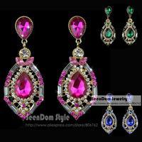 SeenDom Shining Blue Green Pink Rhinestone Water Drop Brincos Crystal Teardrop Earrings Women Dress Jewelry SCE002