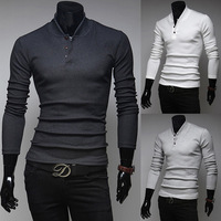 Free shipping 2014 hot sale new fashion men casual slim polo shirt, solid color long-sleeve polo men, wholesale