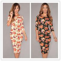hollow back vestido leopardo Cream/Black  V Back Half Sleeves Floral Midi Dress new 2014 sexy summer autumn dress party female