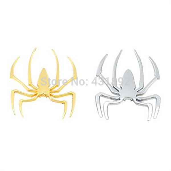 2pcs spider Car Sticker,3D metal decals,Auto labels,decorative parts,Chrome Badge Emblem Wholesale(China (Mainland))