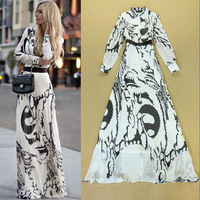 Top Quality New Celebrity Dresses 2014 Autumn Women Abstract Print Long Sleeve Maxi Dress Wedding Bouquet Party Dress Prom