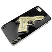 Noble 3D Gold Gun Gem Silver Black Hard Case Cover for Apple iPhone 5 5s