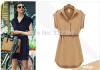Free Shipping 2014 Women Loose Short-sleeved Dress Shirt Slim Show Thin Big Yards Ladies Chiffon Dress With Belt S-XXL
