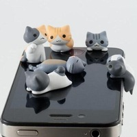 10pcs/lot wholesale 3.5mm Cute cheese cat dust plugs earphone jack plug for apple iphone4s/5s for Samsung HTC Free shipping