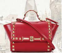Fashion Retro Hot Rivet Decrated Female's Trapeze Handbag High Quality Leather Shoulder Bag Fashion Messenger Bag 6Colors nb8