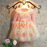 Fashion 2014 brand girl dress autumn 3-9 age floral baby girls dress vestidos de menina free shipping retail pink